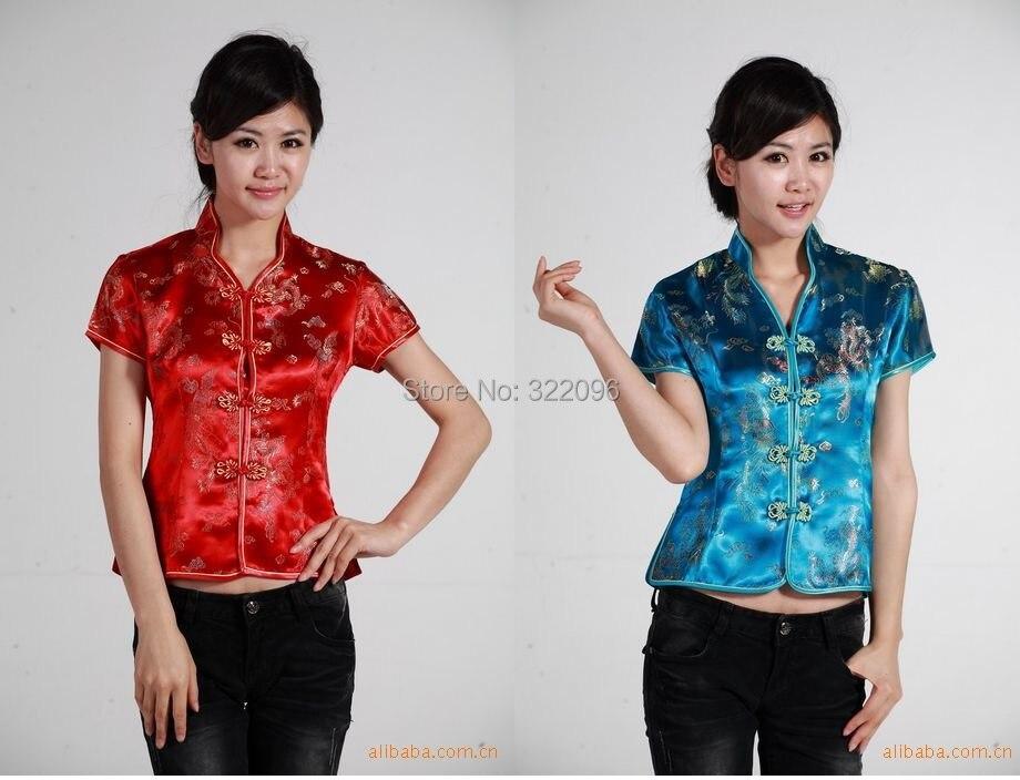Shanghai Historia Tradicional de Las Mujeres Chinas Camisa de Satén Con Cuello E