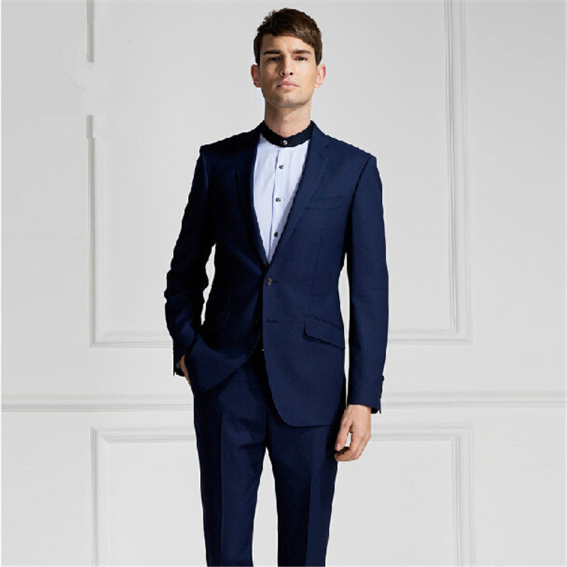 Fashion style dark blue suit men's suits, wedding the ...