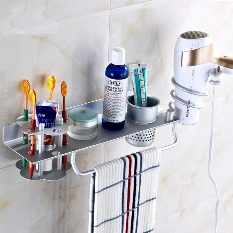 Bathroom shelf wall mount bathroom hair dryer bracket toothbrush holder toilet storage rack multifunctional free punch  LO523549Bathroom shelf wall mount bathroom hair dryer bracket toothbrush holder toilet storage rack multifunctional free punch  LO523549