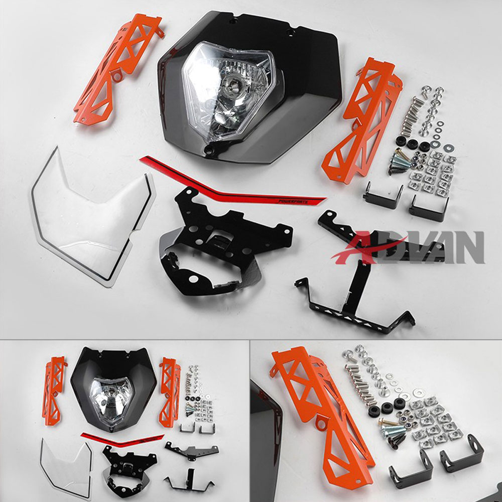 FREE SHIPPING Black Headlight Mask Lights Assembly Decals Bracket For KTM 125 200 390 Duke black windscreen windshield for ktm 125 200 390 duke motorcycle motorbike dirt bike free shipping