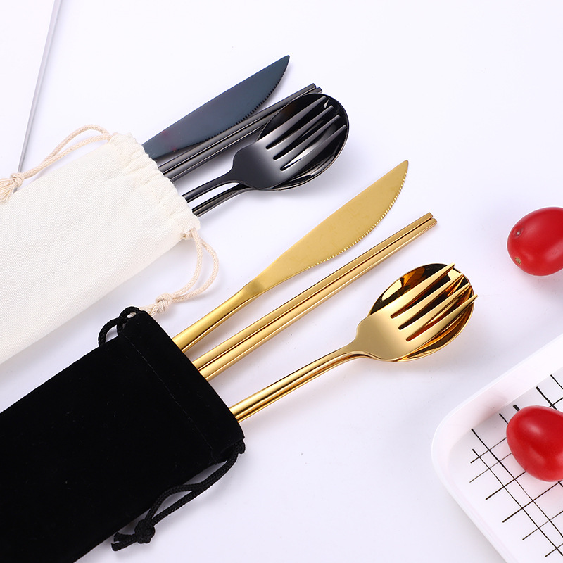 Gold Cutlery Set Knives Forks Spoons Chopsticks Set Flatware Stainless Steel Kitchen Dinnerware Home Party Table Cutlery Set