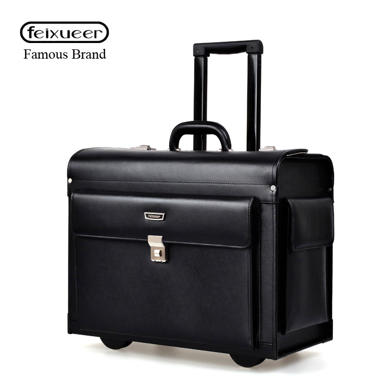 85d9d0c1a feixueer Luxury Leather Business Trolley Pilot Captain Rolling Luggage  Women Fashion Travel Suitcase Men Boarding Case Black Hot-in Rolling Luggage  from ...