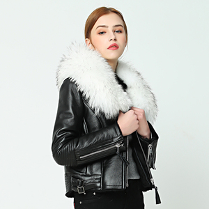 Image 4 - OFTBUY 2020 new Winter jacket coat women Real Sheep skin Leather jacket Double faced Fur With Raccoon Dog Fur Collar Wool Liner
