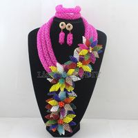 Terrific Hot Pink Nigerian Wedding African Costume Crystal Necklace Set Flowers Fall Pendant Jewelry Set Free Shipping HD7671