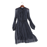 Quality 100 Real Silk Ladies Casual Style Dress Cute Dot A Line Women Knee Length Real