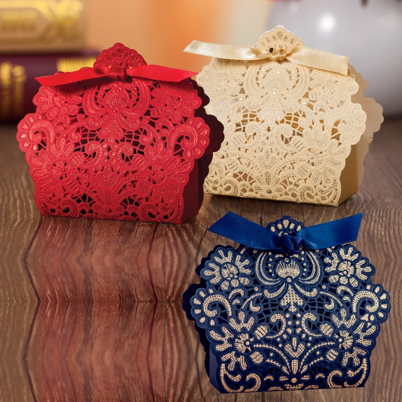 Wedding Favors Gifts Baby Shower Royal Blue Red Gold Laser Cut Romantic Decoration Flower Elegant Party Sweet Paper Candy Box In Gift Bags Wrapping