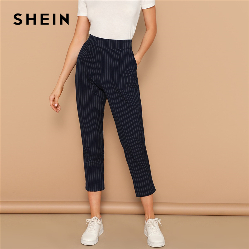 SHEIN Navy Vertical-stripe Peg Leg Pants Women Crop Trousers Office Lady 2019 Spring Office Lady Casual Workwear Pencil Pants