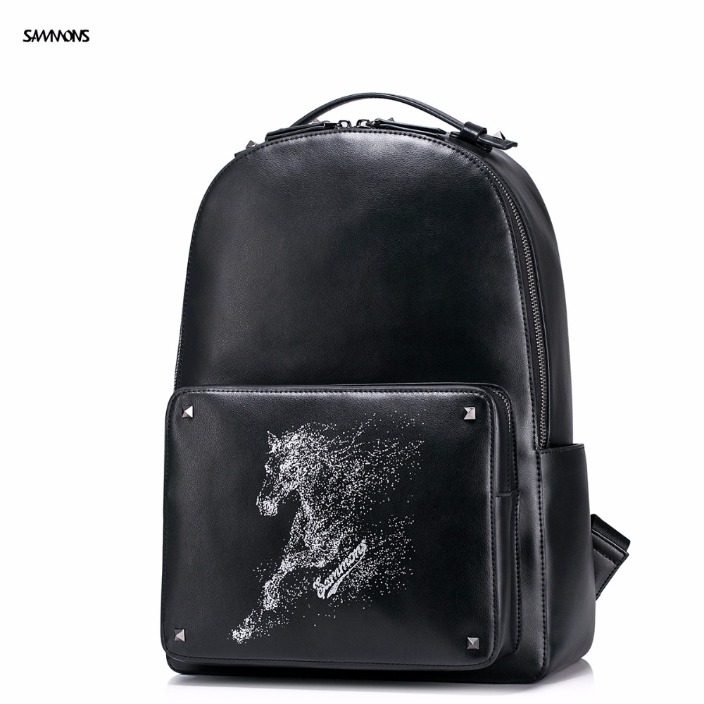 ФОТО 2017 SAMMONS Brand New  Design Fashion Steed Embossing High Quality PU Leather Casual College Laptop Travel Men Backpacks Bag