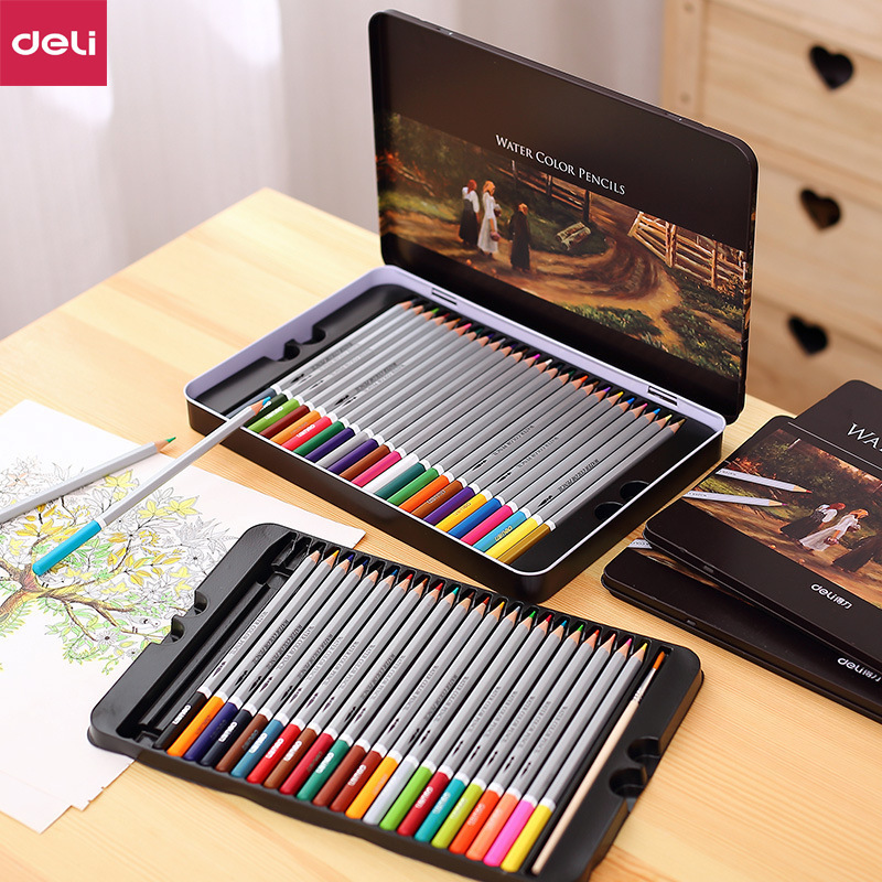 Deli Professional Color Pencils Set For Drawing Colors Painting Sketch Tin Box Art School Artist Supplies Colour Pencil 0D6521 deli professional 72 colored pencil set water colour pencil tin box drawing painting sketch lapis de cor school artist supplie