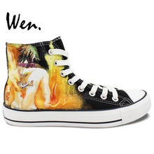 Wen Anime Black Hand Painted Shoes Design Custom One Piece Ace Men Women's High Top Canvas Sneakers Gifts for Man Boys
