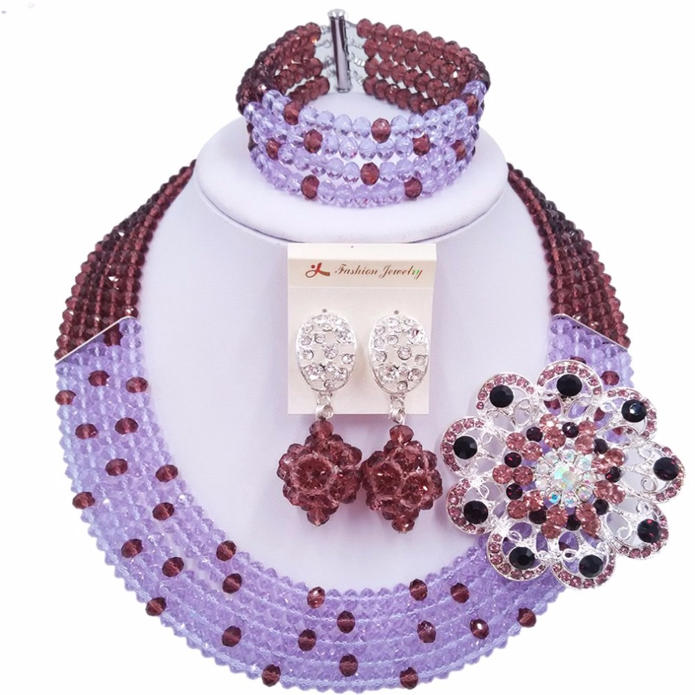 Laanc Fashion Dark Purple Lilac African Bead Necklace Jewelry Set Nigerian Beads Wedding Jewelry Sets for Women 5SZK027 ...