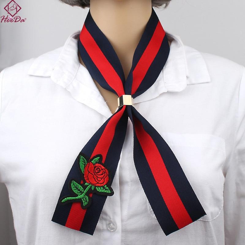 Heeda Cloth Art Rose Embroidery Necklace 2018 New Colorful Ribbon Women Choker Kpop Big Name Kolye Retro Ethnic Mothers Day Gift