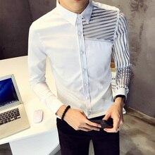 Slim Fit Shirt Men Sexy Transparent Striped Designer Dress Social Long Sleeve White For Clothes Camicia Uomo