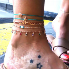 Multi Layer Trendy Eye Shell Starfish Anklets For Women Rope Chain Bracelets Gold Color Girl Birth Gift
