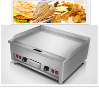 220V/5KW Commercial Electric Grill Griddle Dorayaki Teppanyaki Machine 16MM Thickened Grill Plate Double Temperature Control