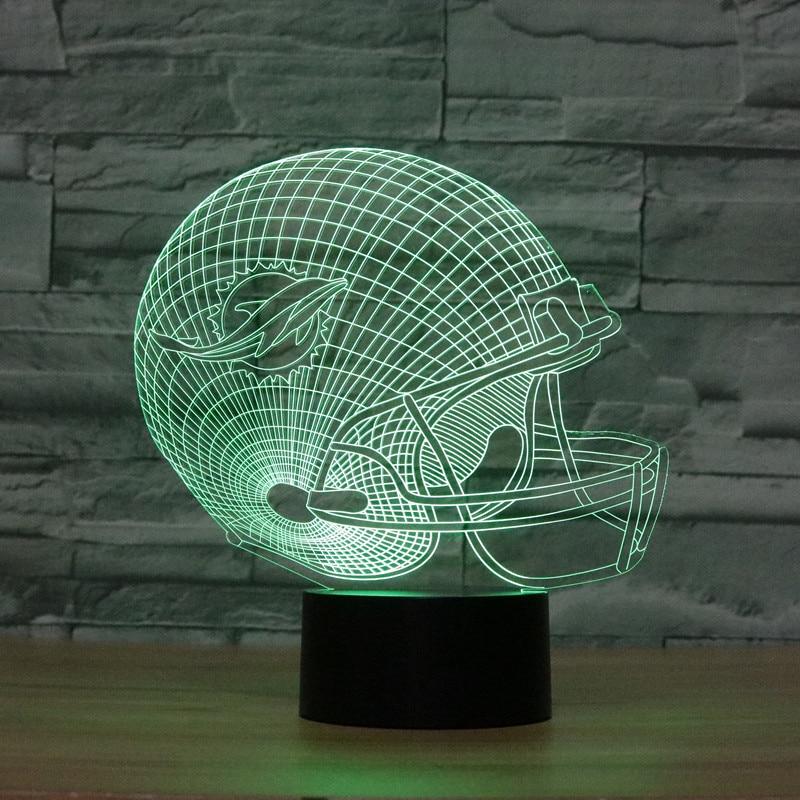 3D Optical Illusion Lamp NFL Miami Dolphins football helmet Night lights Multicolored LED Creative Gadget Kida Kiddie Gift