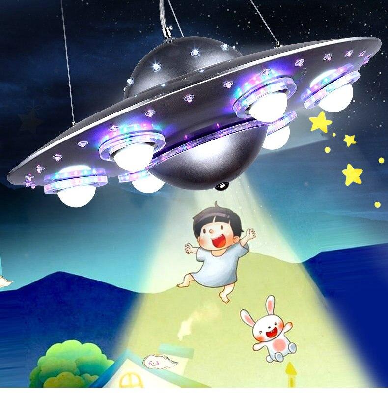 Control remoto colgante de OVNI luz plata azul niños niño dormitorio colgante Luz Jardín de Infantes accesorio escolar - 5