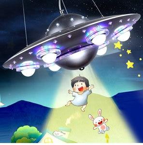 Image 4 - リモコンufoペンダントライトシルバーブルー子供子供少年の寝室ペンダント幼稚園保育園器具