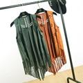 Suede Fringe Vest New Leather Fringed Waistcoat Colete Feminino Autumn Hollow Out Chaleco Flecos Outerwear Cardigan Vest Women