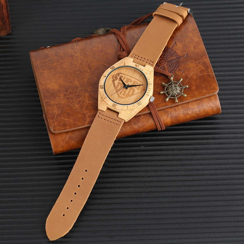 SUPER DAD Wood Watch Simple Bamboo Male Clock Casual Genuine Leather Band Men's Quartz Wristwatch Top Gifts for Dad Father's Day 2017 (13)