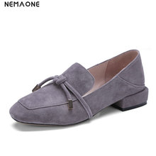 NEMAONE Women suede Leather Shoes Summer low heels Shoes Woman bowties Low Heels square Toe Womens Shoes