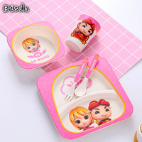 1 Set Edible Safe Children LunchBox Set Eco Friendly Cartoon Pink Kid Tableware Set Fork Cup Bowl And Plate