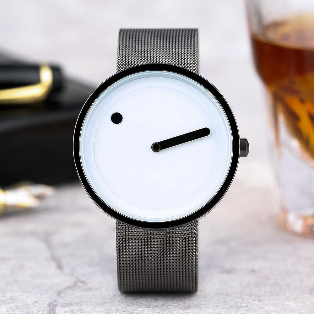 2017 Simple Men Nordic Minimalist Watch Creative Single Pointer Dot Dial Stainless Steel Mesh Band Quartz Wristwatch Brief Clock