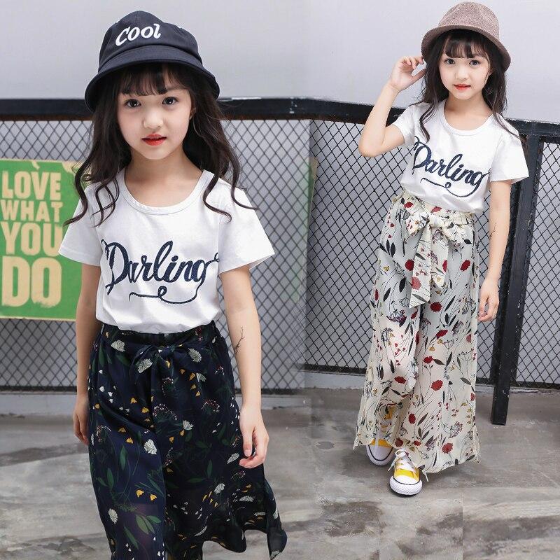 Crianças Roupas de verão Meninas de Manga Curta Roupas Grandes Meninas T-shirt de Algodão + Chiffon Calças Casuais Crianças