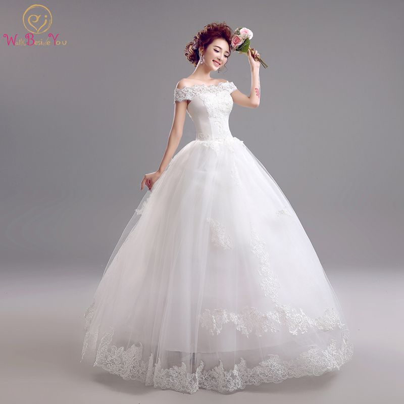 Olcsó Vestido Noiva Longo kiváló minőségű esküvői ruhák csipke le a váll hajó nyakkivágás padló hossza menyasszonyi ruha Stock  t