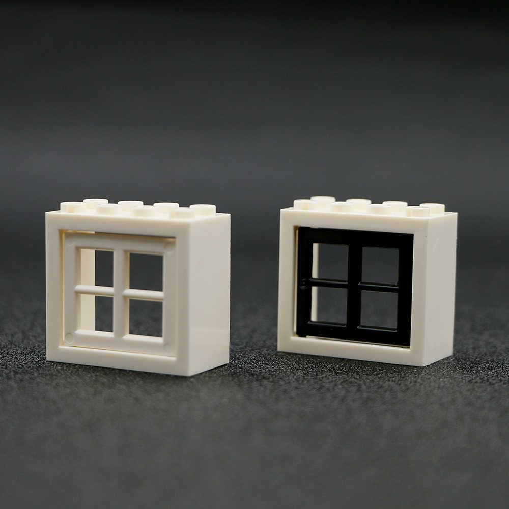 Blocos de Construção da cidade Blocos Janela Minecrafted 2x4 Militar MOC Frame Casa Jardim Acessórios Peças Conjuntos de brinquedos Da Cidade para crianças