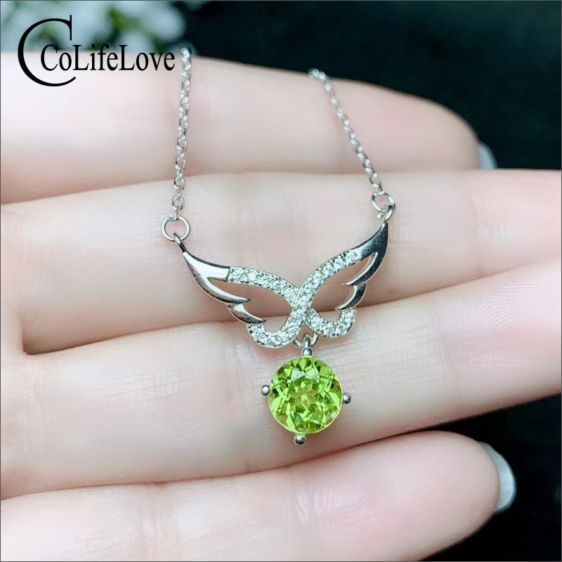CoLife Jewelry 925 Silver Gemstone Necklace for Young Girl 7mm Natural Peridot Necklace Fashion 925 Silver Peridot Jewelry