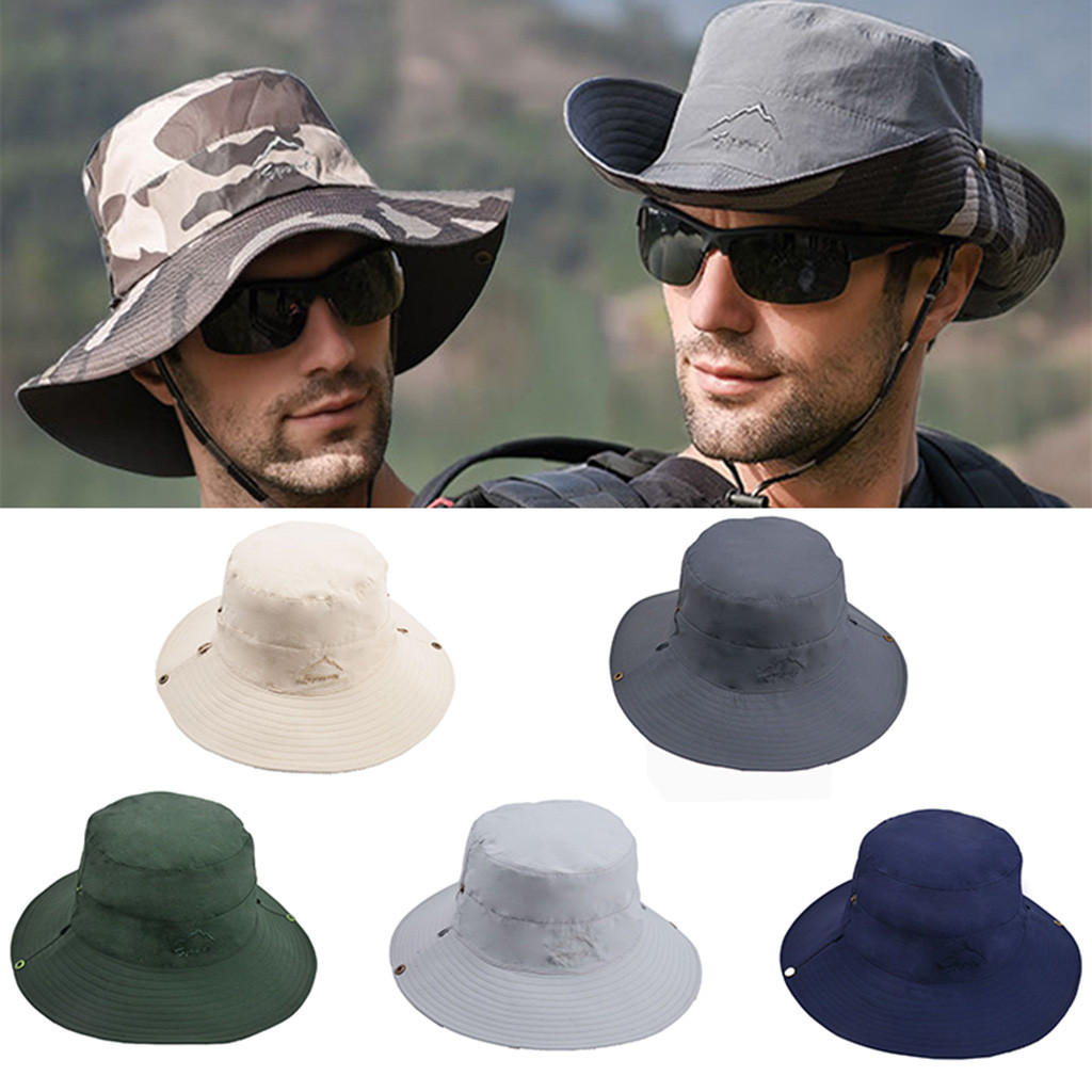 Cowboy Summer Outdoor Riding Anti-UV Sun Hat Fishing Cap Beach Sunscreen solid Double-sided Wearable Wide Brim Cap