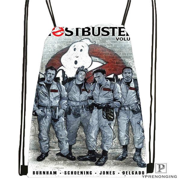 Custom Ghostbusters Drawstring Backpack Bag Cute Daypack Kids Satchel (Black Back) 31x40cm#20180611-02-81