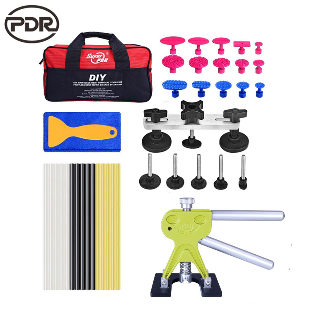 PDR kits Auto Car Body Paintless Dent Repair Removal Tools Kit Door Ding Remover Repair Kits Dent Lifter Glue Pulling Bridge