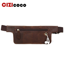 Genuine Leather Waist Bag Men Pack Funny Belt Chain For Phone Pouch Bolso