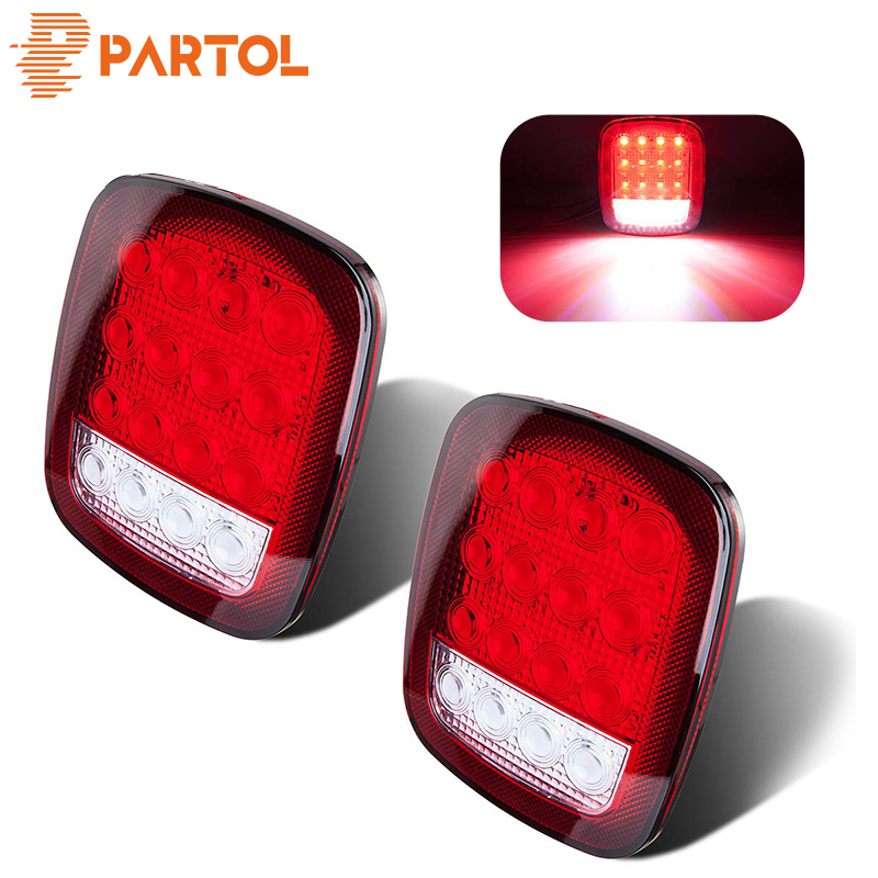 Partol 2x 16 Leds Led Trailer Lights Stop Brake Running Rear Side Marker Back-up Tail Light For Truck Vehicles 12v 24v Red White Beneficial To The Sperm Truck Light System Automobiles & Motorcycles