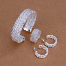 925 stamped silver plated middle wide fine mesh open cuff bracelet full mesh ring earring hoop women fine fashion jewerly Bijoux(China)