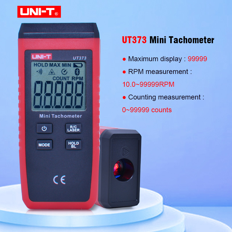 UNI-T UT373 Mini Digital Laser Tachometer Non-Contact Tachometer Measuring Range 10-99999RPM Tachometer Odometer Km/h Backlight