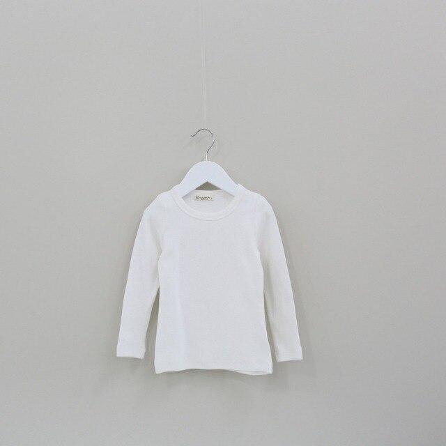 2016 новые весна осень детской одежды с длинным рукавом хлопок твердые конфеты цвет детей основные дна футболки для девочек-младенцев мальчиков