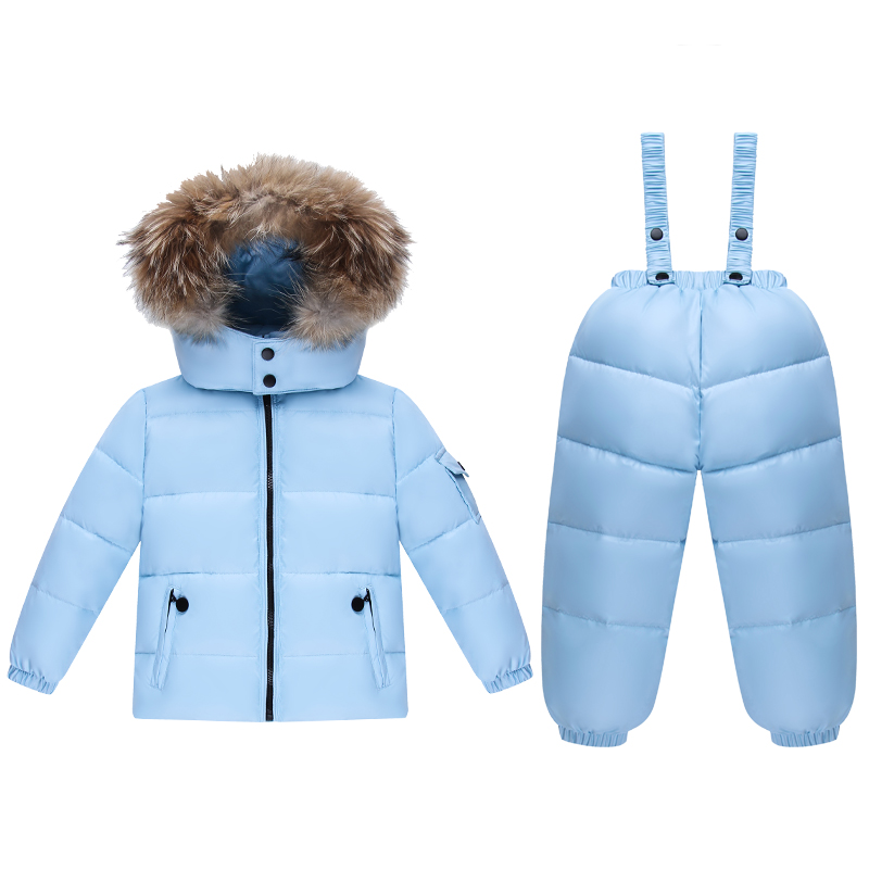 Fashion Winter Jacket For Girls Clothes Baby Snowsuit Nature Fur Hooded Winter Ski Suit Children's Clothing  kids Jackets+Pants 2016 winter boys ski suit set children s snowsuit for baby girl snow overalls ntural fur down jackets trousers clothing sets