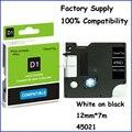 Белый на черный 12 мм * 7 m питания клейкий совместимый Dymo D1 этикетировочная печать лента 45021