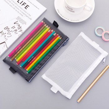 Transparent Simple Mesh Pencil Case Pencilcase Stationery School Office Writing Learn Supplies Student Large Pencil Storage Bag Пенал