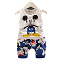 2017 New Summer Kids Clothes Boys Clothing Set Vest + Shorts Baby Boy Summer Set Children Toddler Clothing Sleeveless Cartoon