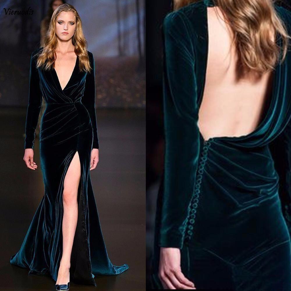 2019 nouvelles robes de soirée Sexy vert foncé manches longues dos nu velours sirène haute fente Elie Saab Occasion porter célébrité bal G