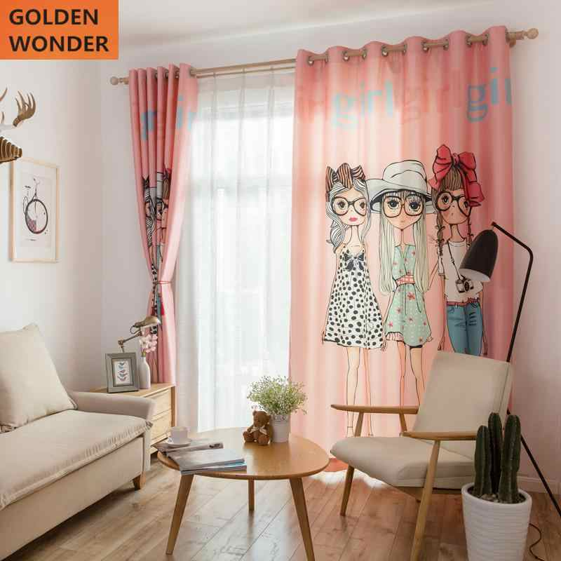 Pink Princess Curtain For Girl Cartoon Lovely Romantic Children Bedroom Living Room Simple Modern Style