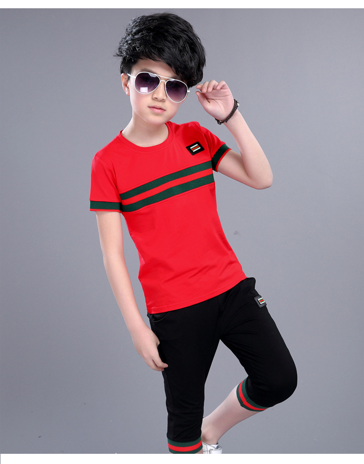 Casual Active Boys Clothes Set Summer Girls Teenage T Shirt Shorts Children Suit 2019 Kids Outfits Sports Clothing For Boys 2Pcs (14)