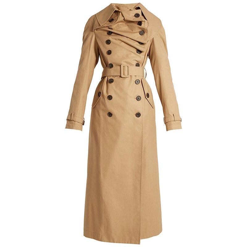 Young17 Autumn Coat Women Khaki Hemline Elegant Patchwork Belt Button Pocket Winter Peplum Coats Autumn Fashion Warm   Trench   Coat