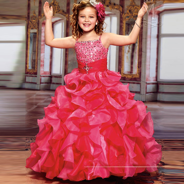 Lovely Kids Sequined Bodice Organza Ruffles Ball Gowns Girls Pageant ...