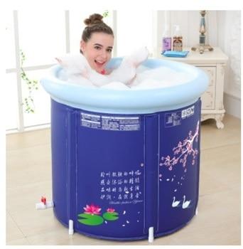 H حجم كبير حوض استحمام للكبار سميكة للطي حوض استحمام مع غطاء العزل و وسادة حمام برميل دش دلو الحرة نفخ أحواض استحمام محمولة وقابلة للنفخ المنزل والحديقة -