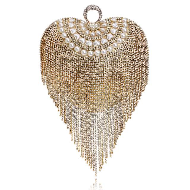 Tassel rhinestones women evening bags beaded wedding handbags finger rings diamonds small purse evening bag